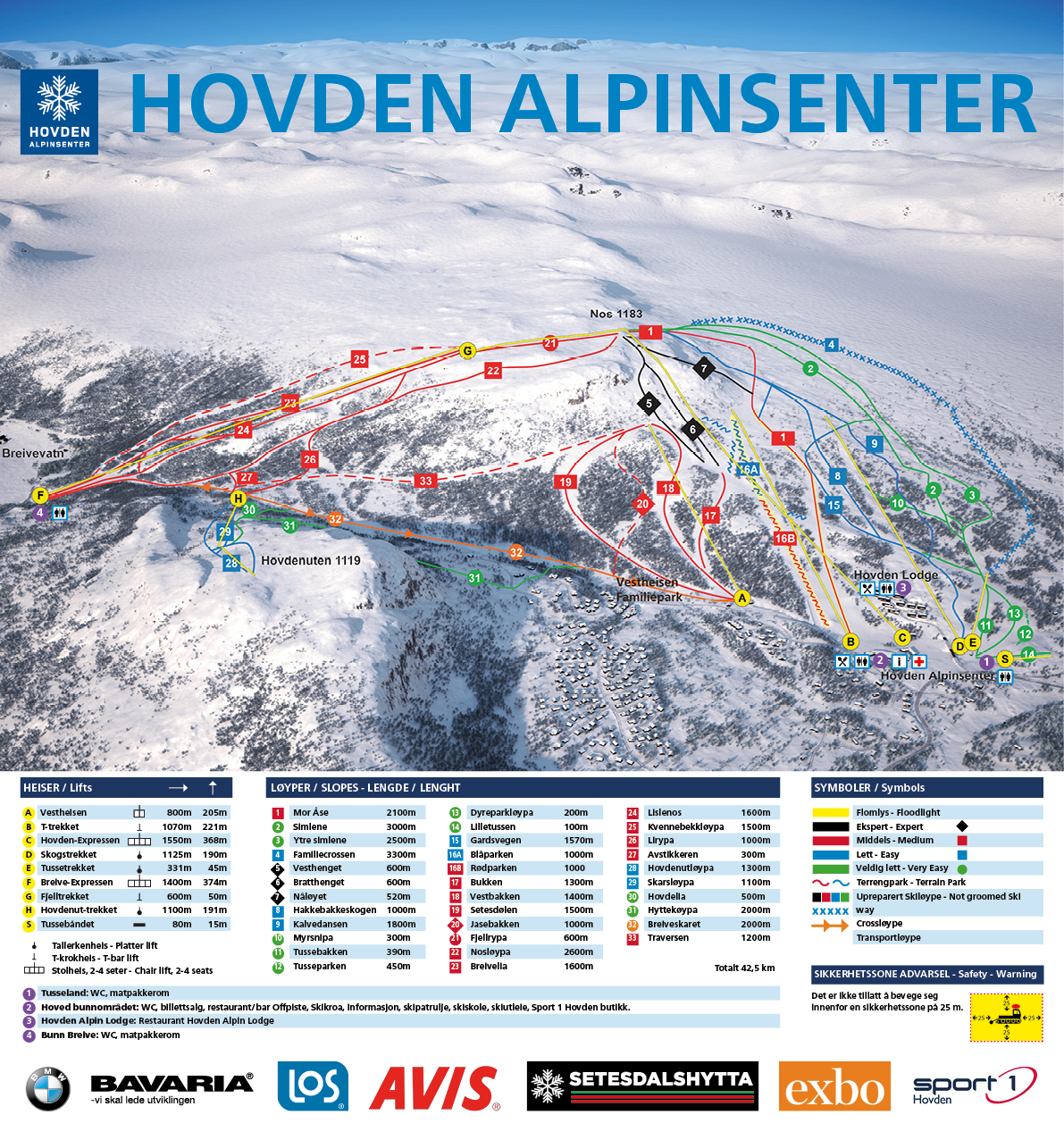 kart over hovden Heiser, trekk og løyper   Hovden Alpinsenter kart over hovden